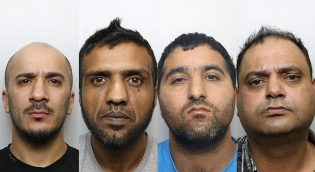 usman ali  banaras hussain  abdul majid and gul riaz and two other men were jailed for a total of 55 years